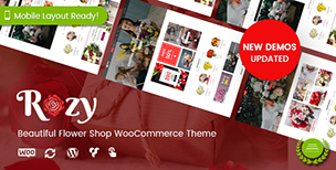 Rozy - Flower Shop, Decoration Store WooCommerce WordPress Theme (Mobile Layout Ready)