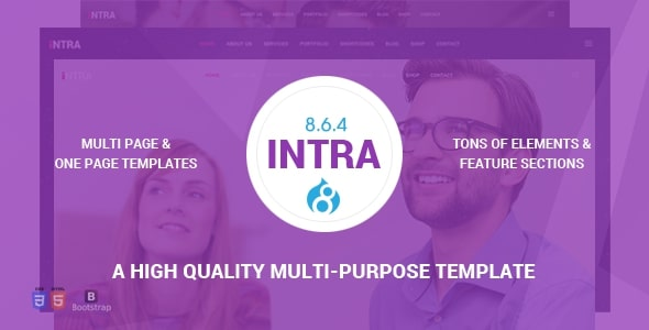 Intra - Multi-Page + One Page Multi-Purpose Drupal 8.6.4 Theme