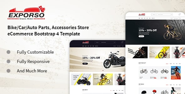 Exporso - Bike/Car/Auto Parts, Accessories Store Bootstrap 4 Template