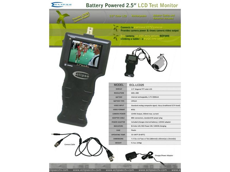 Battery Powered Test Monitor with 12VDC Power Output for CCTV Camera